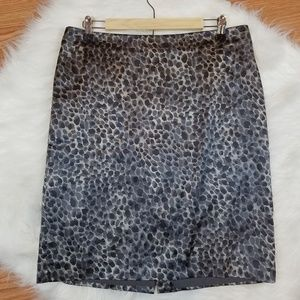 Ann Taylor Leopard Silk Career Skirt